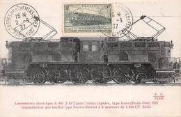 FRANCE .CARTE MAXIMUM. N°207854. 1937. Cachet EPERNAY. Locomotive Electrique - Cartoline Maximum