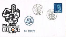36830. Carta RIPOLL (Gerona)  1977. Milenario Basilica Santa Maria - 1931-Hoy: 2ª República - ... Juan Carlos I