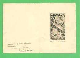 Gravure (4x7) )  1946 Par Rémy Hétreau (artiste Peintre 1913_2001 ) Petite Carte De Voeux Double Noel 1946 - Vieux Papiers