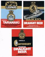 36834. 3 Etiquetas Marcas CERVEZA, BEER New Zeland, Canterbury, Taranaki, Waikato * - Cerveza