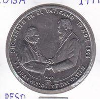 MONEDA DE CUBA DE 1 PESO DEL AÑO 1997 DE JUAN PABLO II Y FIDEL CASTRO EN EL VATICANO - Cuba