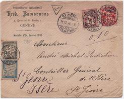 Superbe Lettre Suisse 1896 TAXE MIXTE Banderole Noir + Couleur > Par Erreur St-Jeoire Haute-Savoie) > Saint-Geoire Isère - Taxes