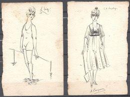 Beaux Croquis De Mode Signé S Campana Le Bain Et La Plage - Habits & Linge D'époque