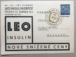 CZECHOSLOVAKIA 1935 Postcard `Leo Insulin` Praha To Bechyne - Praha 10 Hrad T.G. Masaryk Postmark - Cecoslovacchia