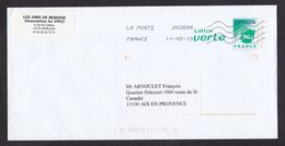 France: Stationery Cover, 2013, Green Letter, Leaf, Map, Environment (traces Of Use) - France