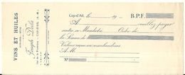CAP D'AIL . TRAITE BAR DE LA FRONTIERE . JOSEPH DEILA - Cheques & Traveler's Cheques