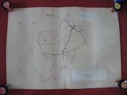 Carte Plan Cadastral MATHAUX Aube Dessinée Et Aquarelée à La Main Par L'agent Voyageur Cantonal En 1870 Canton Brienne - Sonstige Gemeinden