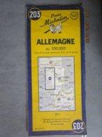 Carte Routière  MICHELIN  N: 203 ALLEMAGNE  édition 1954 De Koln à Saarbrücken - Sarre - Cartes Routières
