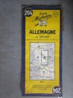 Carte Routière MICHELIN N:204 ALLEMAGNE édition 1954 De Siegen Koblenz Frankfurt à  Mainz Mayence, Mannheim Ludwigshafen - Cartes Routières