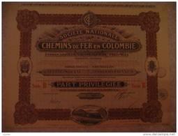 """Chemin De Fer De Colombie Ferrocarriles De Colombia Part Privilégiée  1923 Litho""""La Cote Libre Bruxelles""""Train à Vapeur - Chemin De Fer & Tramway"""