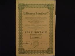 Etablissements  Bettonville Hodimont Verviers (Liège)Textile  Part Sociale.  1951. - Textile