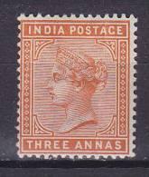 British India 1890 Mi. 36 A    3 A Queen Königin Victoria MH* (2 Scans) - India (...-1947)