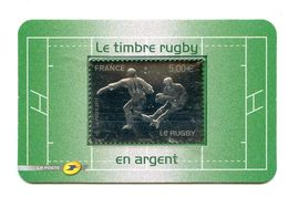 TIMBRE RUGBY ARGENT 2011 DANS EMBALLAGE ORIGINE - 50 % FACIALE - Rugby