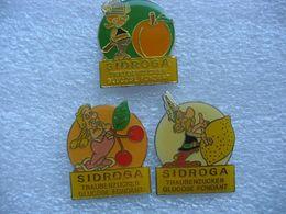 Lot De 3 Pin's, Personnages BD Astérix Pour Pub SIDROGA - Alimentation