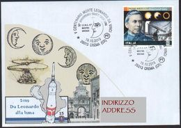 Italia Crema Cremona 2019 Leonardo Da Vinci Sbarco Luna Moon Lune - Stamp Secchi Eclissi Eclipse ANN00027 - Scienze