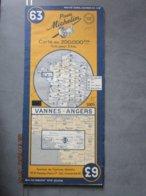 Carte Routière MICHELIN N: 63 - VANNES - ANGERS édition De 1951 - Cartes Routières