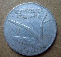 """Errore Conio 1956 Senza Zecca """"R"""" - ITALIA 10 Lire Spighe - Circolata - 10 Lire"""