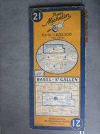 Carte Routière SUISSE > BÄLE - SAINT GALL N:21     BASEL  - SAINT GALLEN N:21    édition 1950 - Cartes Routières