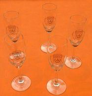 Suite De 5 Flûtes à Champagne    Champagne Sacy 1er Cru  Saint Vincent   Hauteur : 170mm - Verre & Cristal