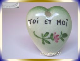 Clamecy ... Coeurs En Fête Pendentif.. Toi Et Moi, Grand Modèle Vert ... Ref .AFF : 1994 - Anciennes