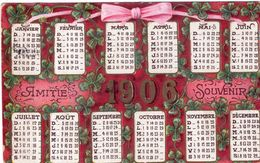 Calendrier Carte Postale . Amitié Souvenir 1908 . Cachet De 1909 - Calendriers
