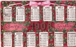 Calendrier Carte Postale . Amitié Souvenir 1908 . Cachet De 1909 - Calendari