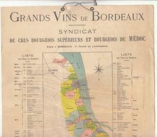 Carte Des Grands Vins De Bordeaux Syndicat Des Crus Supérieurs Et Bourgeois Du Médoc (2 Scans) - Dépliants Touristiques