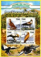 Bloc Feuillet Oblitéré De 4 Timbres-poste - Faune Du Niger Oiseaux De Proie Circaète Aigle - République Du Niger 2013 - Niger (1960-...)