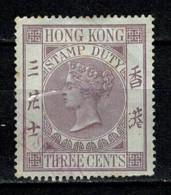 Hong Kong Stamp Duty Used Three Cents Queen Victoria - Hong Kong (...-1997)