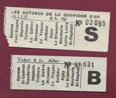 040620 -  TICKET DE TRANSPORT - Var Alpes Maritimes AUTOBUS DE LA CORNICHE D'OR 2 Tickets Aller 8 Fr Et 0 Fr 50 - Europe