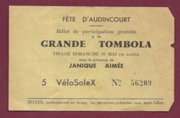 040620 -  BILLET LOTERIE - 25 Fête D' AUDINCOURT Grande Tombola Janique Aimée Vélosolex N° 56209 - Loterijbiljetten