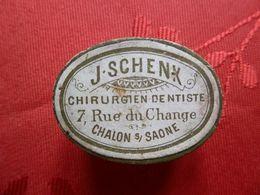 CHALON SUR SAÔNE, 7 Rue Du Change, J.SCHENK Chirurgien Dentiste - Boite De Dents De Lait, Famille JANNIN-MULCEY - Matériel Médical & Dentaire