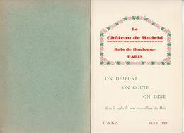 """Carte Des Vins Du """"Château De Madrid"""" (4 Pages) - Menus"""
