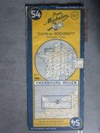 Carte Routière MICHELIN  N:54  CHERBOURG  - ROUEN  édition 1952 - Cartes Routières