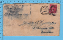 USA - Franklin, 1899, Cover Cambridge Sta. Boston Mass, With A 1 On The Killer, Send To Richmond P. Quebec - FDC & Commémoratifs
