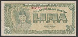 Indonesia 5 Rupiah ORI Sukarno Djokjakarta 1 January 1947 VF+ - Indonesië