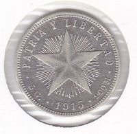 MONEDA DE PLATA DE CUBA DE 20 CENTAVOS DEL AÑO 1915 (SILVER-ARGENT) - Cuba