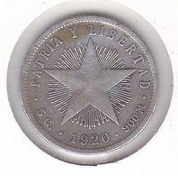 MONEDA DE PLATA DE CUBA DE 20 CENTAVOS DEL AÑO 1920 (SILVER-ARGENT) - Cuba