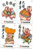 Serie 4 Carte Telefoniche  PORKY - SINGAPORE    Pubblicità FUJIFILM - BD