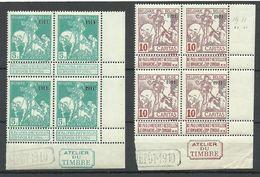BELGIEN Belgium 1911 Michel 83 - 84 (or 87 - 88 ???) As 4-block MNH Nice Sheet Corners - 1910-1911 Caritas