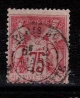 YV 81 Signé CALVES , Obliteration Paris 51 Lafayette Cote 150 Euros - 1876-1898 Sage (Type II)