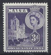 "MALTA....QUEEN ELIZABETH II.(1952-NOW..)...."" 1954..""........3d ......ROYAL VISIT.......MNH... - Malta (...-1964)"