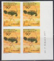 DJIBOUTI (1978) Ostrich. Imperforate Dated Corner Block Of 4. Scott No 462. - Djibouti (1977-...)