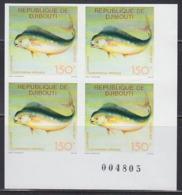 DJIBOUTI (1977) Dolphinfish. Imperforate Corner Block Of 4. Scott No 469. - Djibouti (1977-...)