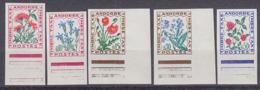 ANDORRA (1964) Flowers. Set Of Imperforates. Scott Nos J46-8,50,52. Yvert Nos TT46-8,50,52. - French Andorra