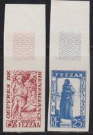 FEZZAN (1959) French Occupation. Set Of 2 Margin Imperforates. Scott Nos 2NB1-2, Yvert Nos 54-5. MNH. - Fezzan (1943-1951)