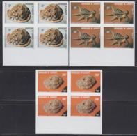 DJIBOUTI (1979) Seashells. Set Of 3 Imperforate Blocks Of 4. Scott Nos 506-8, Yvert Nos 512-4. - Djibouti (1977-...)