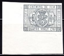 BELGIUM (1879) Railroad Stamp. Imperforate Proof Of 80c Stamp. Scott No Q5. Very Rare! - Railway