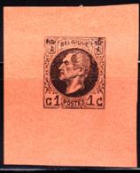 BELGIUM (1865) King Leopold I. Imperforate Essay Of 1c Stamp On Orange Paper. - Errors And Oddities