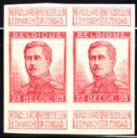 BELGIUM (1912) King Albert I. Trial Color Proof Pair Of 25c Stamp In Red. Scott No 105. - Proofs & Reprints